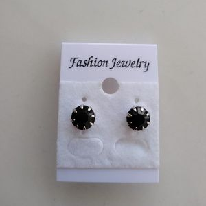 Jewelry - Silver Tone Black Stud Earrings
